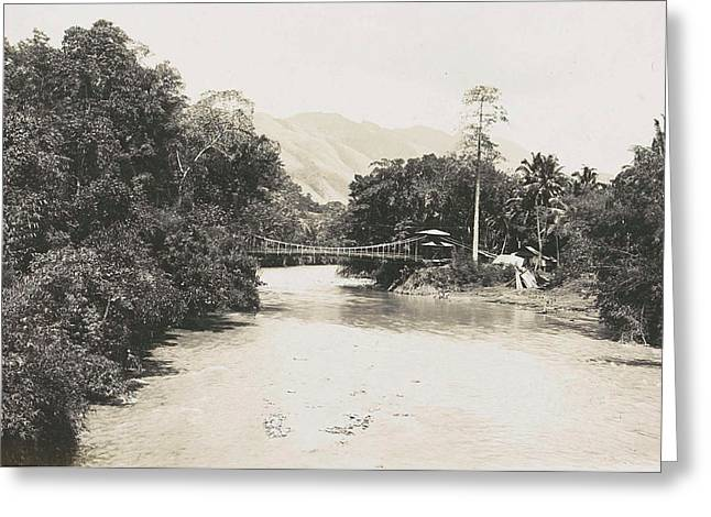 Dutch East Indies, Indonesia, River Godang With Suspension Greeting Card
