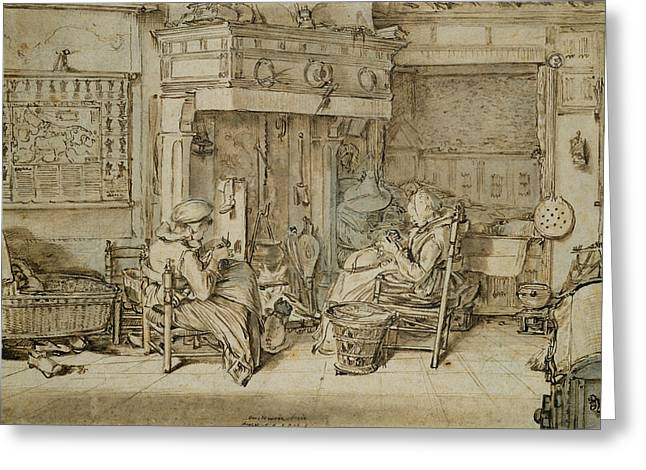 Dutch Interior, 1617 Pen, Ink And Brush On Paper Greeting Card