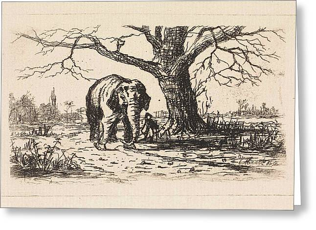 Dutch Landscape With An Elephant And Supervisor Greeting Card
