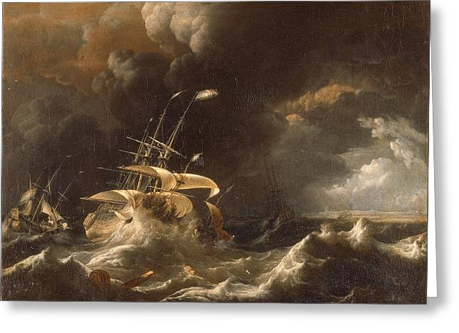 Dutch Merchant . Ships In A Storm Greeting Card by Ludolf Bakhuizen
