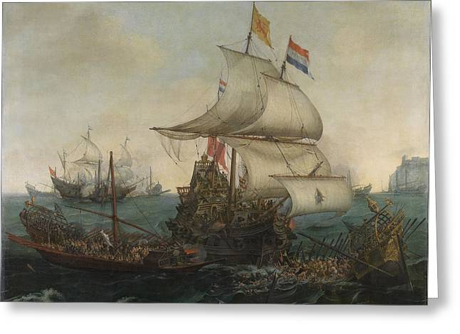 Dutch Ships Running Down Spanish Galleys Off The English Greeting Card