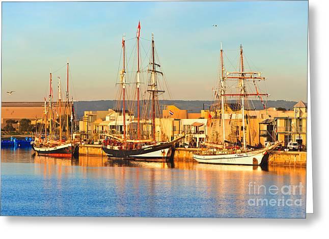 Dutch Tall Ships Docked Greeting Card by Bill  Robinson