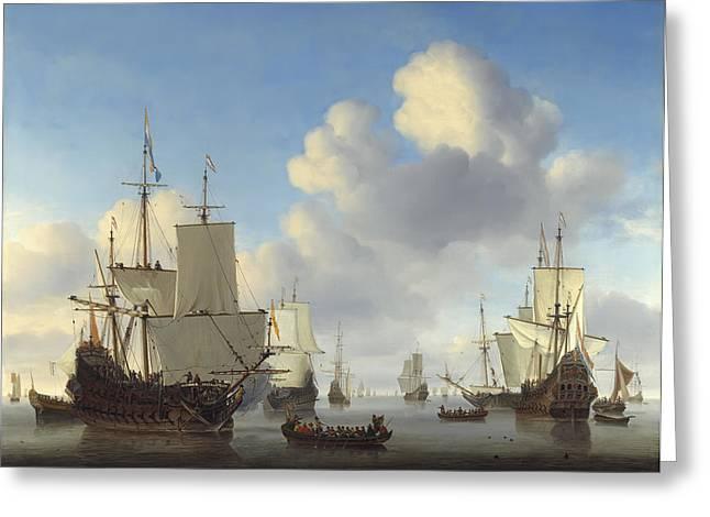 Dutch War Ships On Calm Seas  C. 1665 Greeting Card