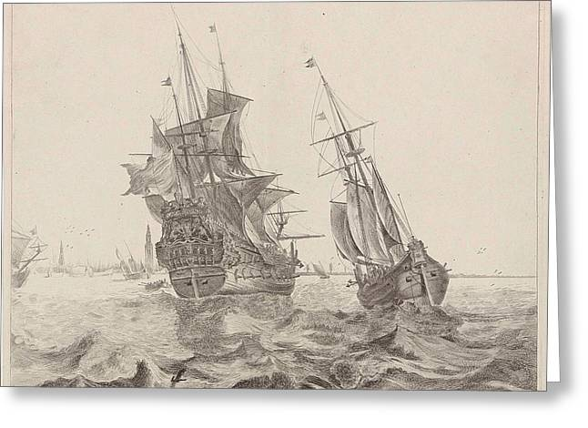 Dutch Warship In Amsterdam, The Netherlands Greeting Card