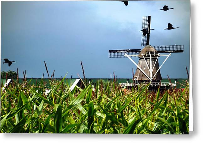 Dutch Windmill In Summer Greeting Card by Yvon van der Wijk