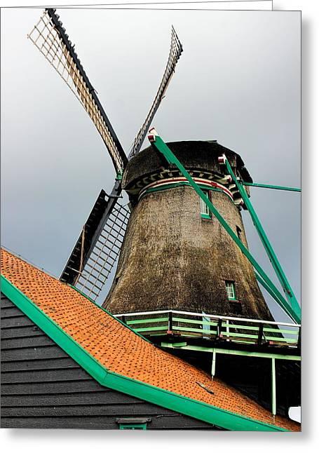 Dutch Windmill Greeting Card by Jenny Hudson