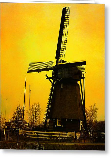 Dutch Windmill - Yellow Greeting Card by Yvon van der Wijk