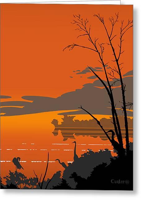Abstract Tropical Birds Sunset Large Pop Art Nouveau Landscape - Left Side Greeting Card