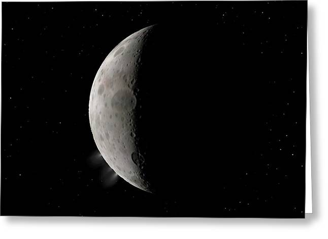 Dwarf Planet Ceres Crescent Greeting Card by Walter Myers