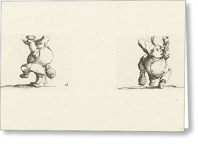 Dwarf With Bottle And Glass, Drink Spilling Dwarf Greeting Card by Jacques Callot And Abraham Bosse