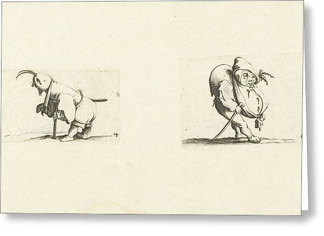 Dwarf With Sling, Stool And Sword Dwarf With Walking Stick Greeting Card by Jacques Callot And Abraham Bosse