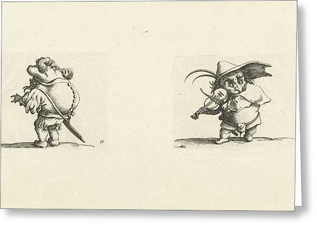 Dwarf With Sword, A Row Of Buttons On The Back Dwarf Greeting Card