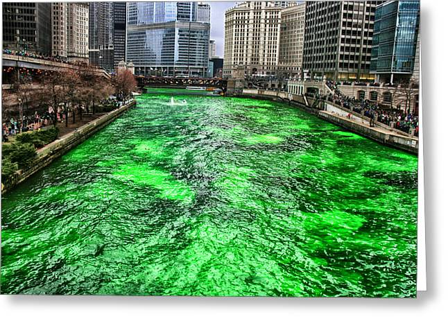 Dyeing The Chicago River Green Greeting Card by Jerome Lynch