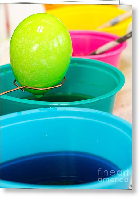 Dying Easter Eggs Greeting Card by Edward Fielding