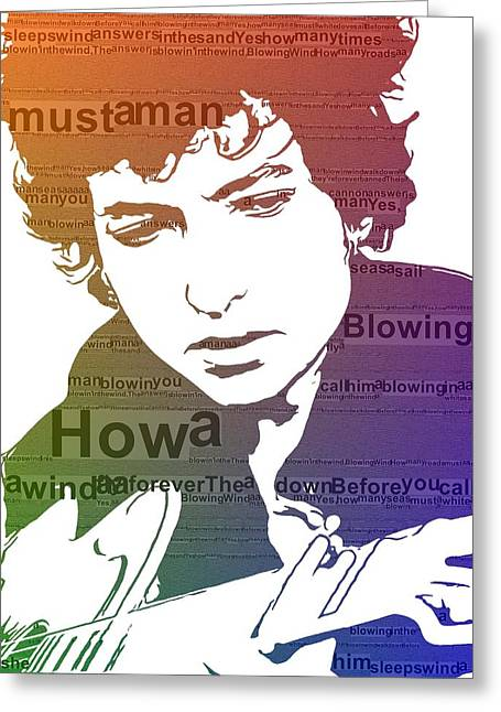 Dylan Blowin In The Wind Greeting Card by Dan Sproul