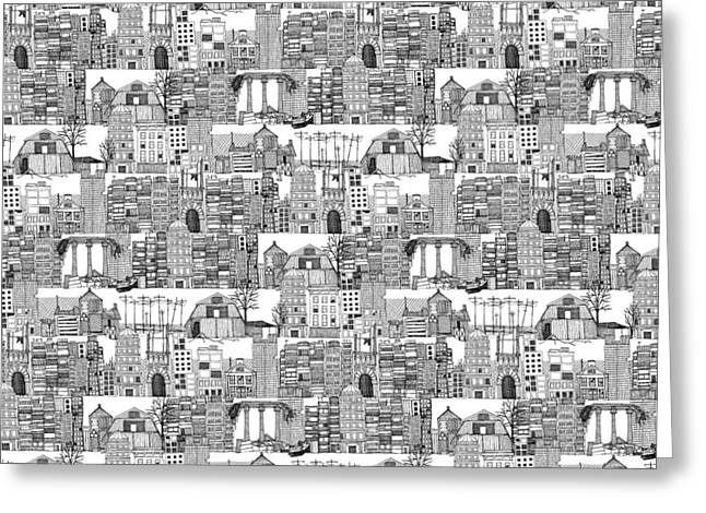 Dystopian Toile De Jouy Black White Greeting Card by Sharon Turner