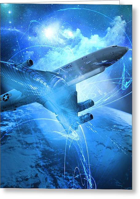 E-8 Joint Stars---blue Space Greeting Card