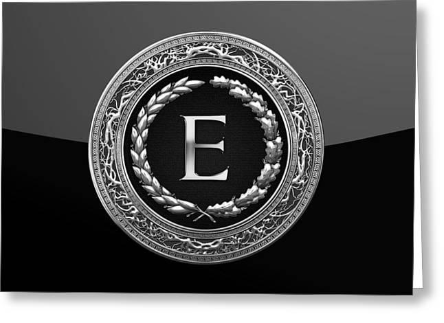 E - Black Silver Vintage Monogram On Modern Glossy Black Greeting Card by Serge Averbukh
