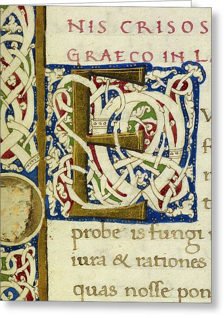 E From A Life Of Christ Manuscript Greeting Card by British Library