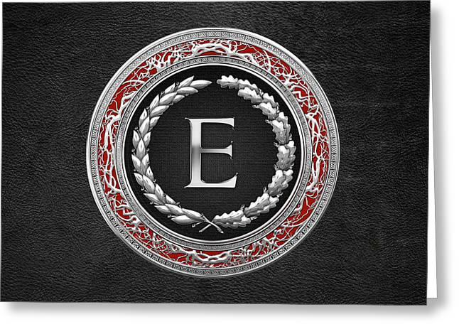 E - Silver Vintage Monogram On Black Leather Greeting Card