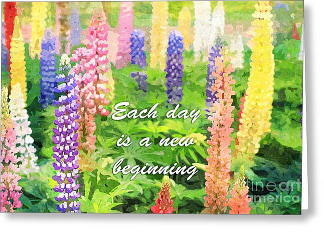 Each Day Is A New Beginning Colorful Lupine Flowers Greeting Card by Beverly Claire Kaiya