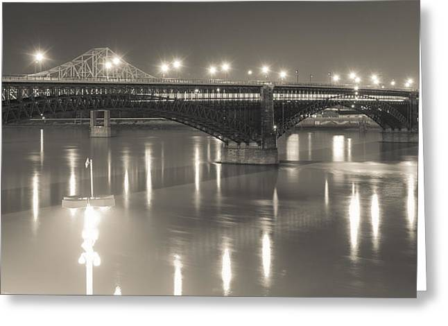 Greeting Card featuring the photograph Eads Bridge And Train by Scott Rackers