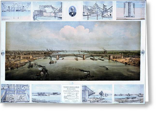 Eads Bridge Drawings Greeting Card