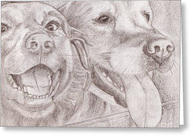 Eager Best Friends Greeting Card by Audra D Lemke