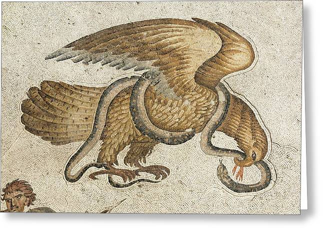 Eagle And Serpent Mozaic Greeting Card by David Parker