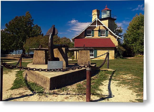 Eagle Bluff Lighthouse Greeting Card by Chuck De La Rosa