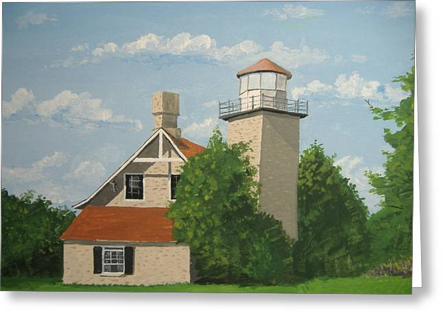 Greeting Card featuring the painting Eagle Bluff Lighthouse Wisconsin by Norm Starks