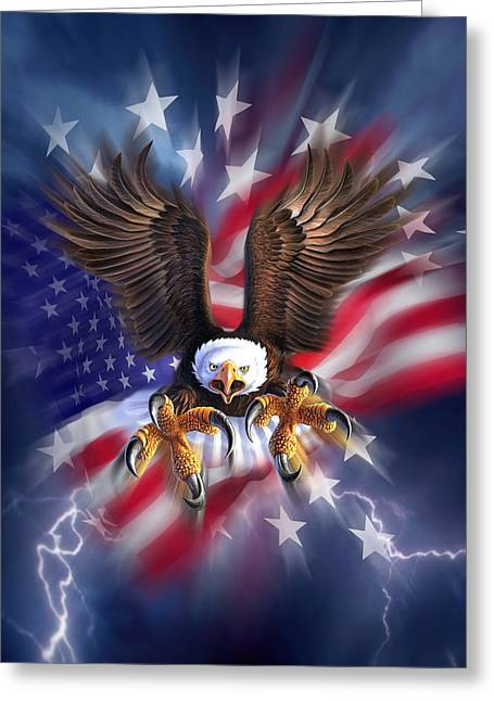 Eagle Burst Greeting Card by Jerry LoFaro