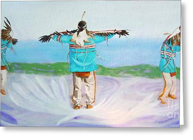 Eagle Dance Greeting Card by Pauline Ross