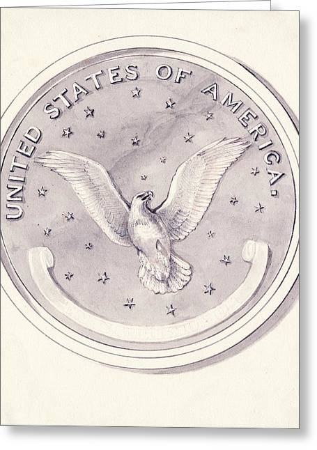 Eagle Design For Us Coin Greeting Card by American Philosophical Society