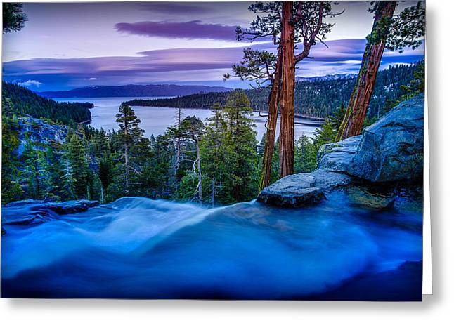 Eagle Falls At Dusk Over Emerald Bay  Greeting Card
