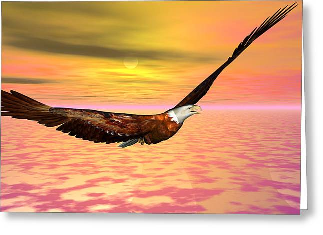 Eagle Flight Greeting Card by Michele Wilson