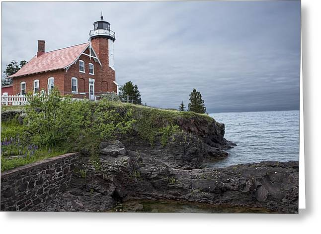 Eagle Harbor Lighthouse In Michigan No. 0211 Greeting Card by Randall Nyhof