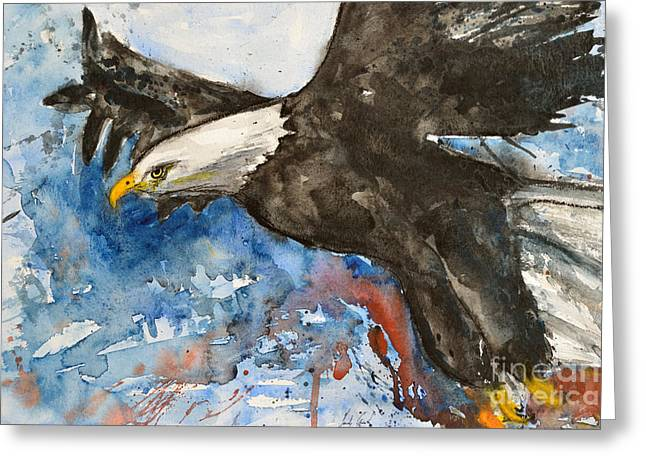 Eagle In Flight Greeting Card by Ismeta Gruenwald