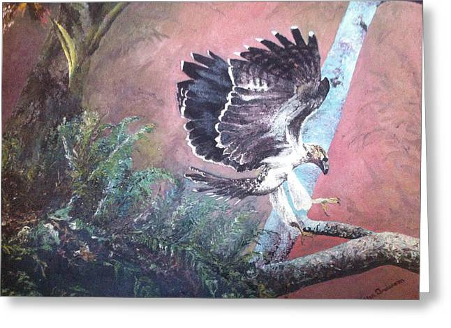 Greeting Card featuring the painting Eagle Light by Mary Ellen Anderson