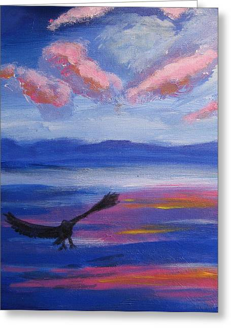 Greeting Card featuring the painting Eagle  On Lake by Diana Riukas