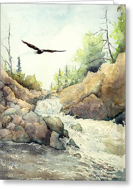 Eagle Over Dave's Falls Greeting Card