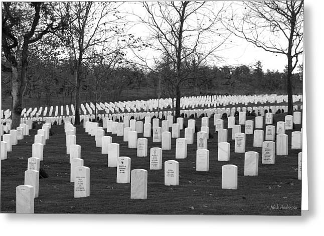 Eagle Point National Cemetery In Black And White Greeting Card by Mick Anderson