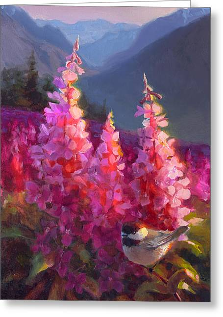 Eagle River Summer Chickadee And Fireweed Alaskan Landscape Greeting Card