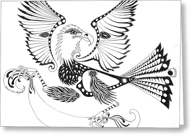 Eagle With A Banner Greeting Card by Melinda Dare Benfield