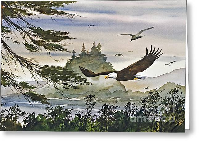 Eagles Majestic Flight Greeting Card by James Williamson