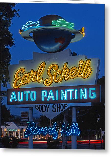 Earl Scheib Neon Bev Hills-1 Greeting Card by Barbara Filet