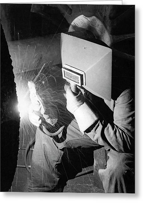 Early Arc Welder Greeting Card by Underwood Archives