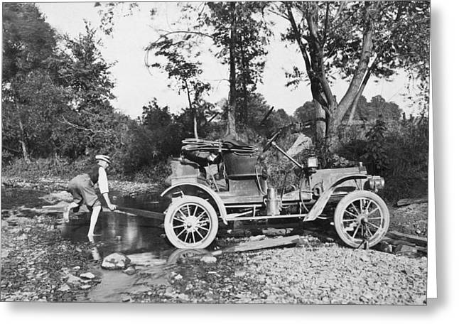 Early Auto Stuck Greeting Card by Underwood Archives