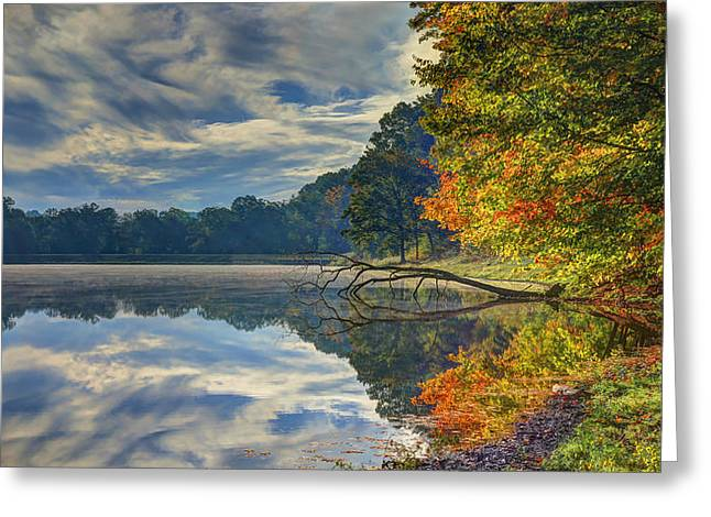 Greeting Card featuring the photograph Early Autumn At Caldwell Lake by Jaki Miller