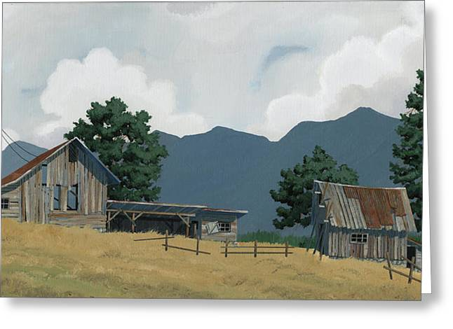 Early Bigfork Farmstead Greeting Card by John Wyckoff